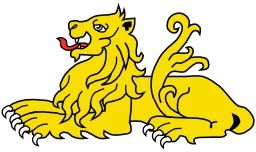 Lion Couché en héraldique. Source : http://data.abuledu.org/URI/525184e9-lion-couche-en-heraldique