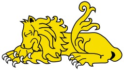 Lion Dormant en héraldique. Source : http://data.abuledu.org/URI/5251a1fa-lion-dormant-en-heraldique