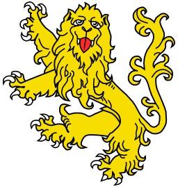Lion Rampant de garde en héraldique. Source : http://data.abuledu.org/URI/5251a25b-lion-rampant-de-garde-en-heraldique