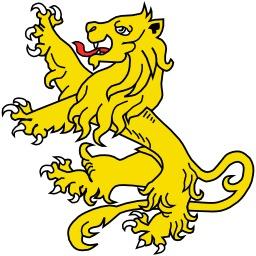 Lion Rampant effrayé en héraldique. Source : http://data.abuledu.org/URI/5251a31b-lion-rampant-effraye-en-heraldique