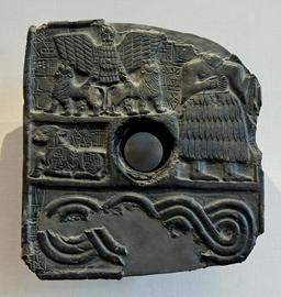 Lions sumériens et le dieu Dudu. Source : http://data.abuledu.org/URI/5251a541-lions-sumeriens-et-le-dieu-dudu