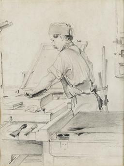 Lithographe au travail. Source : http://data.abuledu.org/URI/511cc59f-lithographe-au-travail