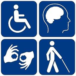 Logo de quatre formes de handicaps. Source : http://data.abuledu.org/URI/5352701a-logo-de-quatre-formes-de-handicaps