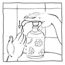 Luna met du savon sur sa main. Source : http://data.abuledu.org/URI/57ffb660-luna-met-du-savon-sur-sa-main