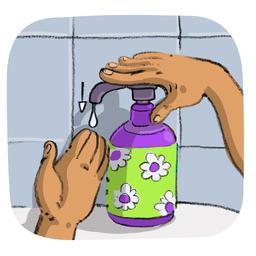 Luna met du savon sur sa main. Source : http://data.abuledu.org/URI/5800e533-luna-met-du-savon-sur-sa-main