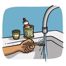 Luna mouille sa brosse à dents. Source : http://data.abuledu.org/URI/5836cb2b-luna-mouille-sa-brosse-a-dents
