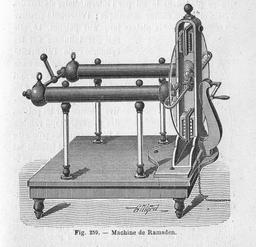 Machine électrostatique de Ramsden. Source : http://data.abuledu.org/URI/50c27b81-machine-electrostatique-de-ramsden