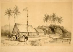Maison à Papeete en 1838. Source : http://data.abuledu.org/URI/5980984e-maison-a-papeete-en-1838