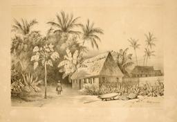 Maison de missionnaires en Polynésie en 1838. Source : http://data.abuledu.org/URI/5980a804-maison-de-missionnaires-en-polynesie-en-1838