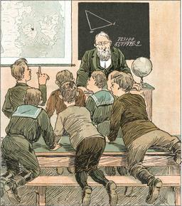 Maître d'école au Danemark en 1890. Source : http://data.abuledu.org/URI/53e8ef08-maitre-d-ecole-au-danemark-en-1890