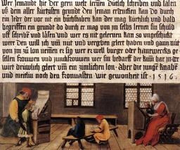 Maître d'école au XVIème siècle. Source : http://data.abuledu.org/URI/529bca26-maitre-d-ecole-au-xvieme-siecle