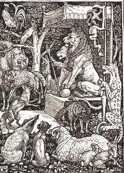 Maître Renard à la cour du lion. Source : http://data.abuledu.org/URI/51950fd2-maitre-renard-a-la-cour-du-lion