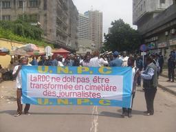 Manifestation de journalistes à Kinshasa en 2009. Source : http://data.abuledu.org/URI/5942fe7e-manifestation-de-journalistes-a-kinshasa-en-2009