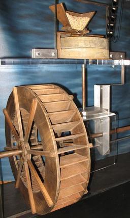 Maquette de mécanisme de moulin à eau. Source : http://data.abuledu.org/URI/508d6389-maquette-de-mecanisme-de-moulin-a-eau
