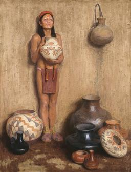 Marchand de poteries indiennes. Source : http://data.abuledu.org/URI/5336f7cc-marchand-de-poteries-indiennes