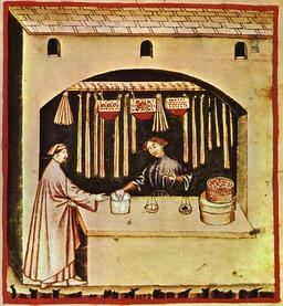 Marchand de sucre au Moyen Age. Source : http://data.abuledu.org/URI/50c8d6a3-marchand-de-sucre-au-moyen-age