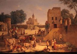 Marché d'animaux au dix-huitième siècle. Source : http://data.abuledu.org/URI/53b13e3c-marche-d-animaux-au-dix-huitieme-siecle