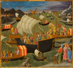 Melchior traversant la Mer Rouge vers 1440. Source : http://data.abuledu.org/URI/53f4711c-melchior-traversant-la-mer-rouge-vers-1440