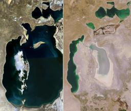 Mer d'Aral en 1989 et en 2008. Source : http://data.abuledu.org/URI/51018e46-mer-d-aral-en-1989-et-en-2008
