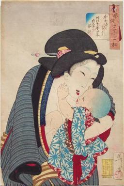 Mère japonaise avec son bébé. Source : http://data.abuledu.org/URI/5277fffb-mere-japonaise-avec-son-bebe