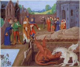Merlin et le combat des deux dragons. Source : http://data.abuledu.org/URI/52adf0c0-merlin-et-le-combat-des-deux-dragons