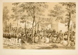 Messe en Polynésie en 1838. Source : http://data.abuledu.org/URI/5980708e-messe-en-polynesie-en-1838