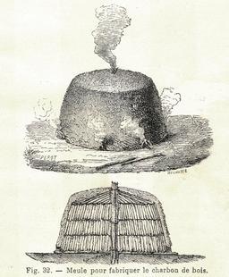Meule à charbon de bois en 1906. Source : http://data.abuledu.org/URI/53caa493-meule-a-charbon-de-bois-en-1906