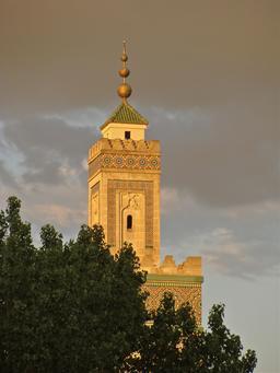 Minaret de la mosquée de Paris. Source : http://data.abuledu.org/URI/53e23d95-minaret-de-la-mosquee-de-paris