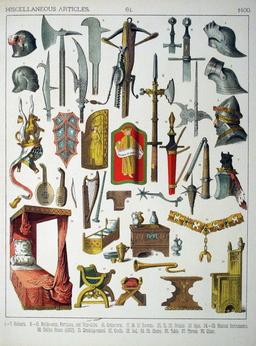 Mobilier et armes du quinzième siècle. Source : http://data.abuledu.org/URI/5307b0cd-mobilier-et-armes-du-quinzieme-siecle