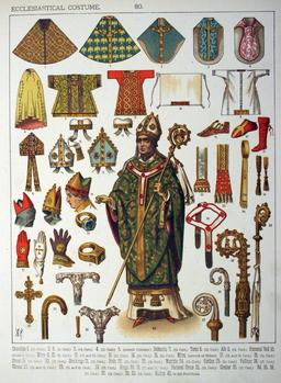 Mobilier et costumes ecclésiastiques médiévaux. Source : http://data.abuledu.org/URI/530b80e0-mobilier-et-costumes-ecclesiastiques-medievaux