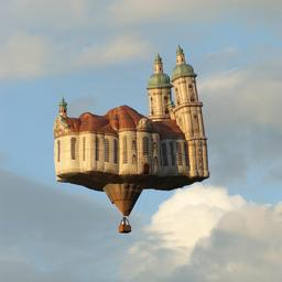 Montgolfière en forme de cathédrale. Source : http://data.abuledu.org/URI/52cf3338-montgolfiere-en-forme-de-cathedrale