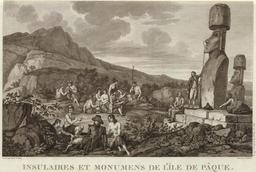 Monuments et insulaires de l'île de Pâques en 1786. Source : http://data.abuledu.org/URI/54ecfa3b-monuments-et-insulaires-de-l-ile-de-paques-en-1786