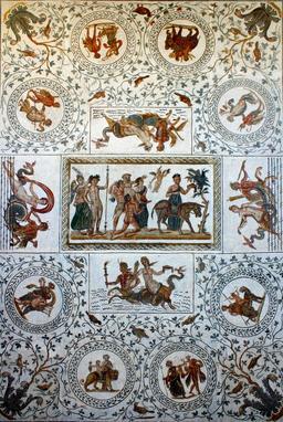 Mosaïque de Silène et son âne. Source : http://data.abuledu.org/URI/505f3d86-mosaique-de-silene-et-son-ane