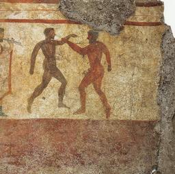 Frsque antique des boxeurs. Source : http://data.abuledu.org/URI/5388d7d5-mosaique-des-boxeurs