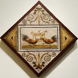 Mosaïque romaine avec combat de coqs. Source : http://data.abuledu.org/URI/55572456-mosaique-romaine-avec-combat-de-coqs
