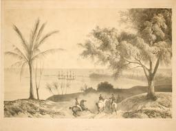 Mouillage de Matavaï en 1838. Source : http://data.abuledu.org/URI/59809ad1-mouillage-de-matavai-en-1838