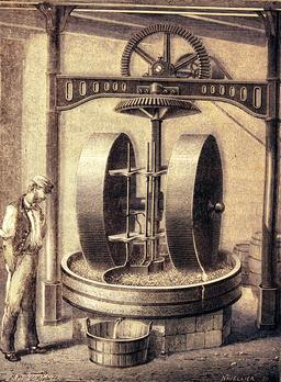 Moulin pour écraser les graines oléagineuses en 1873. Source : http://data.abuledu.org/URI/56bb9889-moulin-pour-ecraser-les-graines-oleagineuses-en-1873