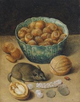 Nature morte aux noisettes avec souris. Source : http://data.abuledu.org/URI/52b7390d-nature-morte-aux-noisettes-avec-souris