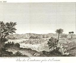 Nécropole d'Assouan en 1799. Source : http://data.abuledu.org/URI/591e34f8-necropole-d-assouan-en-1799