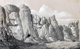 Nécropole de Nakch i Rustam à Persépolis en 1840. Source : http://data.abuledu.org/URI/53dfc2b8-necropole-de-nakch-i-rustam-a-persepolis-en-1840