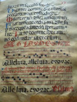 Notation musicale sur le Psalterium nocturnus. Source : http://data.abuledu.org/URI/53d3f9d5-notation-musicale-sur-le-psalterium-nocturnus