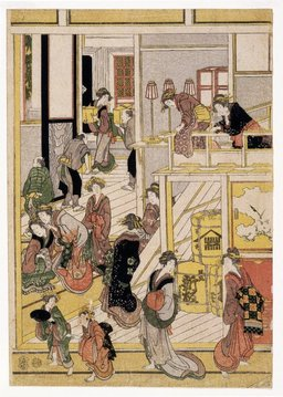Nouvel an au salon de thé Ogi-ya de Katsushika Hokusai. Source : http://data.abuledu.org/URI/47f52c7b-nouvel-an-au-salon-de-the-ogi-ya-de-katsushika-hokusai