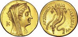 Octodrachme d'or égyptien avec une corne d'abondance. Source : http://data.abuledu.org/URI/573d2564-octodrachme-d-or-egyptien-avec-une-corne-d-abondance