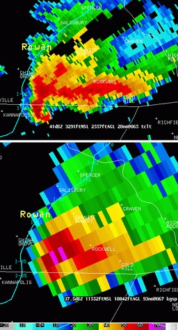Orage de tornade vu par deux radars. Source : http://data.abuledu.org/URI/5232e5a9-orage-de-tornade-vu-par-deux-radars
