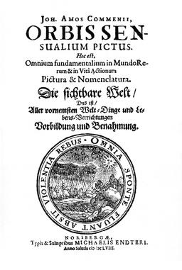 Couverture du dictionnaire latin de Coménius. Source : http://data.abuledu.org/URI/50e69d90-orbis-pictus-001-jpg