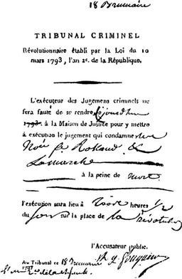 Ordre d'exécution de Manon Roland. Source : http://data.abuledu.org/URI/50afba00-ordre-d-execution-de-manon-roland