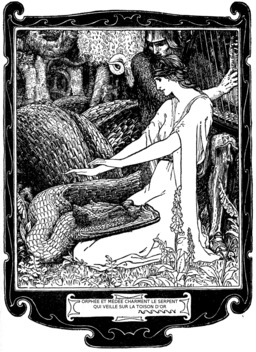 Orphée et Médée charment le gardien de la toison d'or. Source : http://data.abuledu.org/URI/53ee03ac-orphee-et-medee-charment-le-gardien-de-la-toison-d-or