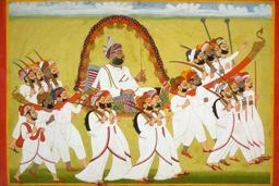 Palanquin indien vers 1820. Source : http://data.abuledu.org/URI/53f484c8-palanquin-indien-vers-1820