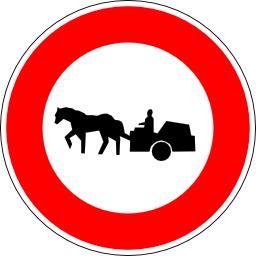 Panneau d'interdiction aux charrettes. Source : http://data.abuledu.org/URI/51376e11-panneau-d-interdiction-aux-charrettes