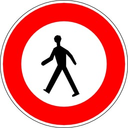 Panneau d'interdiction aux piétons. Source : http://data.abuledu.org/URI/51377082-panneau-d-interdiction-aux-pietons